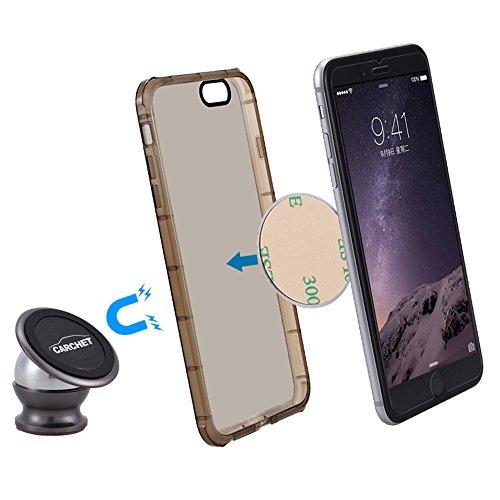 CARCHET KIT Caricabatteria da Auto + Supporto Magnetico, Caricatore per Auto 2 Porte USB 2,4A + 1.0A Car Charger Usb Accendisigari, Supporto Magnetico Auto Universale con Martello di Sicurezza, 360° Forte Piu Piccolo Fa bene alla Visione Ovunque Installare Auto Muro Tavolo Vetro ecc. Kit Piu Economico, Per Huawei, Samsung GALAXY S6 / S6 Edge / S5 / S4, iPhone 6s / 6s Plus / 6 / 6 Plus / 5s, Xiaomi, Sony Xperia, iPad, Tablet, Smartphone e gli altri dispositivi USB