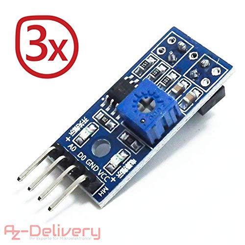 AZDelivery ⭐⭐⭐⭐⭐ 3 x TRCT5000 IR Infrarot Linien Folger Hindernis Vermeidung Modul für Arduino