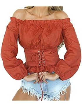 BIRAN Mujer Top Primavera Otoño Blusas Elegante Manga Larga Barco Cuello Sin Tirantes Espalda Abierta Anchos Camiseta...