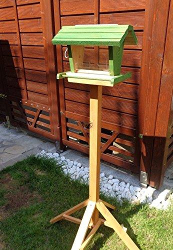 Vogelfutterhaus BTV-X-VOFU2G-gras001 XXL PREMIUM Vogelhaus mit großem 3D-SILO, grasgrün Marien Käfer grün PURE GREEN Garten grüner Nistkasten Insekten, KOMPLETT MIT 2 GROSSEN SICHTSCHEIBEN FÜR FUTTERVORRAT, als Ergänzung zum Meisenkasten oder zum Insektenhotel, Vogelfutterhaus, für Vögel, zum Hängen und zum Aufstellen - 3