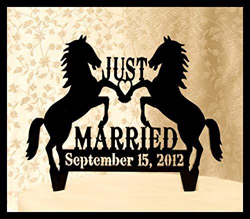 Andrea1Oliver Just Married Hochzeitstorte Topper mit Zwei Pferden und Ihrem Date Western Style Hochzeitstorte Topper Ranch Hochzeitstorte Topper (Pferd Topper Hochzeitstorte)