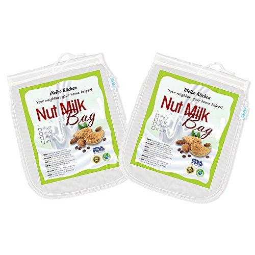 iNeibo Pack de 2 Sac à Lait Végétal en Nylon | Sac Passoire 100% alimentaire (33cmx33cm)