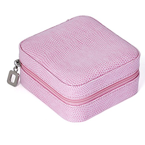 JOVIVI Korean Style Portable Travel Jewellery Box Case Organizer Earring/Ring/Necklace etc Cosmetic Storage Container (Pink)