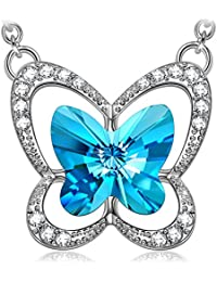 Susan Y Spring Poetry Butterfly Necklace Women Blue Swarovski Crystals, Patent Design, Elegant Jewellery Box Every Special Moment