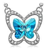 Susan Y Mariposa Collar Mujer con Cristales de Swarovski Azul joyeria Colgante Regalos Cumpleanos Regalos Dia de la Madre Regalos de San Valentin Color Plata