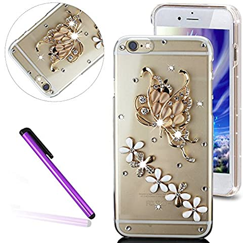 Bling Pailletee Coque pour iPhone 6S,iPhone 6 Coque Bling Etui Housse,iPhone 6S Plastique Coque Hard Etui,iPhone 6S Transparent Plastic Case Cover,EMAXELERS Cute Gold Bear Biycle Modèle Briller Bling Cristal Sparkly Bling Diamant Or Hard Plastique PC Shell Couvrir avec Premium 3D Luxury Faux Diamond Pearl pour iPhone 6S / 6 4.7 Inch -- Gold Swan&Five Flowers