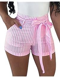d0b572ec89635 ShallGood Mujer Pantalones Cortos con Cinturón Verano Moda Casual Rayas  Alta Cintura Shorts Playa Fiesta Hot