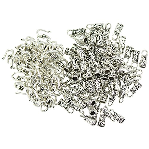 Non-brand 30 Sätze Tibetanische Silber Zinn S Haken Endkappen Schmuck DIY Machen (Machen Schmuck Endkappen Für)