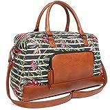 Oflamn Borsa da Viaggio per Donne e Uomo - Borsone da Vintage in Tela - Borsa da Palestra Sportivo - CanvasTravel duffel Bag (5.0 floral stripe)