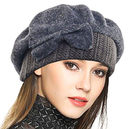 Frauen Barette 100% Wolle Baskenmütze Kleid Mütze Wintermütze (Grau)