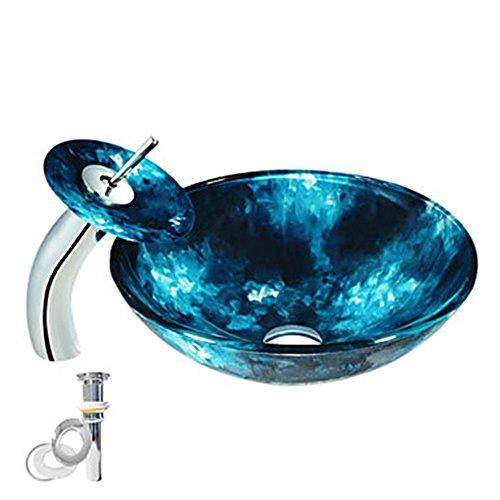Pop-up-drain (Homelava Gehärtetes Glas Schiff Blau Spüle mit Wasserfall Wasserhahn Pop-up-Drain und Montage Ring)