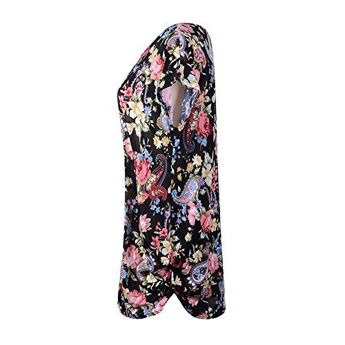 katuo femmes robe à manches Cap pour femme à motif floral mélange de coton Tee Tops Black Flower B-07