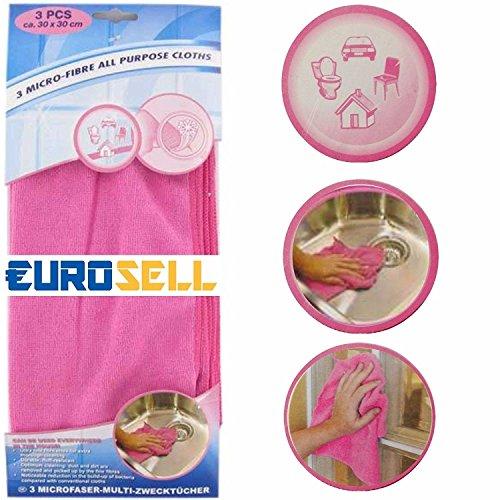 Eurosell Premium 3 Stück Premium Microfaser Mikrofaser Reinigungstücher fusselfrei Tuch Tücher Reinigung Ceranfeld Küche Spültücher...