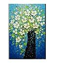 TTKX@@ Handbemalt Blau Leinwand Acryl Blumenbilder Handgemachte Messer Abstrakte Blumen-Ölgemälde Dekoration Wandkunst Bild,70X110Cm