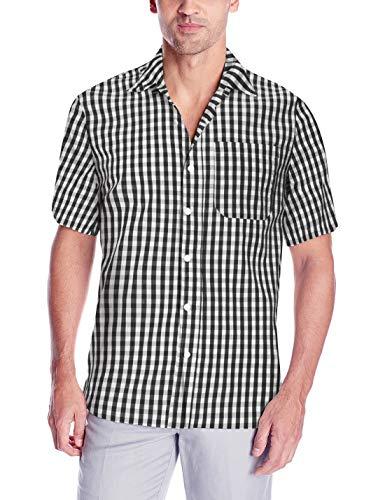 RAISEVERN Männer Regular-Fit - beiläufige Kurzhülse Plaid Popeline - Hemd -