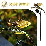 Biene auf dem Blatt-HAPJOY Garten Solarleuchten im Freien, Metall Solar Pathway LED dekorative Stakes Yard Decor wasserdicht für Patio Rasen Gehweg