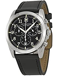 Swiss Army Homme Bracelet Cuir Boitier Acier Inoxydable Quartz Cadran Noir Chronographe Montre 241588