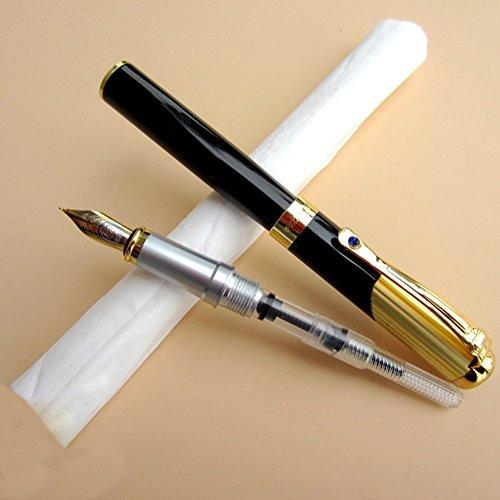Dimensiones: Longitud: 138mm, 12mm de diámetroPuntero Tamaño: 0.50mmPeso: 37gColor: Negro + OroEl paquete incluye:1x Pluma estilográfica