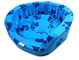 #9: Super Dog Dog Bed Smart and Cozy in Blue Color with Dark Blue Paws Design (Small)