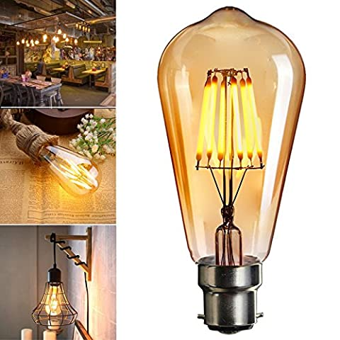 LED Bayonet Edison Bulb, Elfeland Edison Vintage Style Energy-Saving Bulbs - Amber Glass Shell - 2200K Warm White 600LM - B22 Bayonet Cap Lamp - 6W LED Filament Equivalent 60W Incandescent - Dimmable ST64