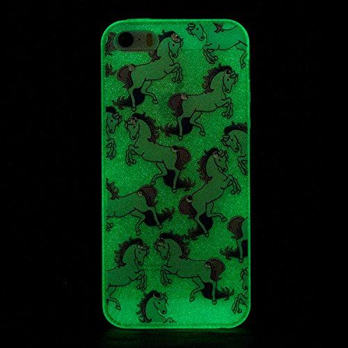 iPhone 5 5G 5S SE Coque, Voguecase TPU noctilucent protecteur avec Absorption de Choc, Etui Silicone Souple Transparent, Légère / Ajustement Parfait Coque Shell Housse Cover pour Apple iPhone 5 5G 5S  cheval 02