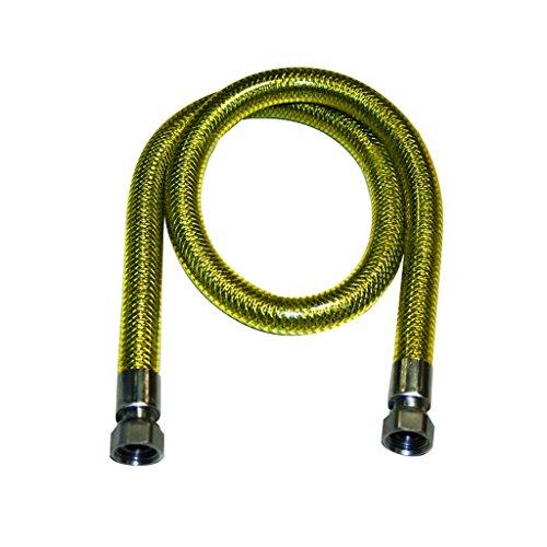 Tubo flessibile 1 metro per gas metano e gpl certificato acciaio inox ff 1/2