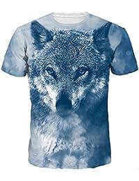 Longra☾ Camiseta Hombre, Unisex 3D Plus Size Print Cool Pullover Manga Corta Camiseta Tops Tee Blusa
