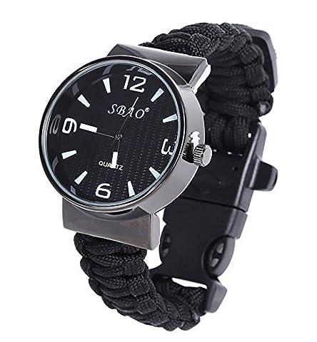 ZENDY Paracord corde cercle montres bracelet avec grattoir inoxydable firestarter et un sifflet et une boussole multifonctions outils de survie en plein air (Noir)