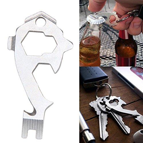 Beautyrain 1 Pcs Ouvre Porte Clés Porte Clés EDC Portable Beer Keychain Outils multifonctionnels Home Bar Acier Inoxydable Argent