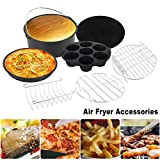 'Air Fryer Accessories Universal Tower 8 Inches Set Of 7 Air Fryer Cooking Accessories Kit Deep Fit All 5.3qt-5.8qt