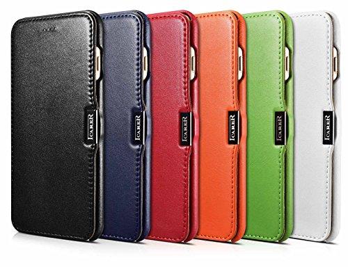 Luxus Tasche für Apple iPhone 8 Plus und iPhone 7 Plus (5.5 Zoll) / Case mit Echt-Leder Außenseite / Schutz-Hülle seitlich aufklappbar / ultra-slim Cover / Etui mit Textil-Innenseite / Farbe: Weiß - Bild 2