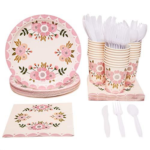 Service de vaisselle jetable - 24 - Lot de vaisselle à fleurs roses - Comprend des couteaux, cuillères, fourchettes, assiettes en papier, serviettes, tasses, noir, blanc