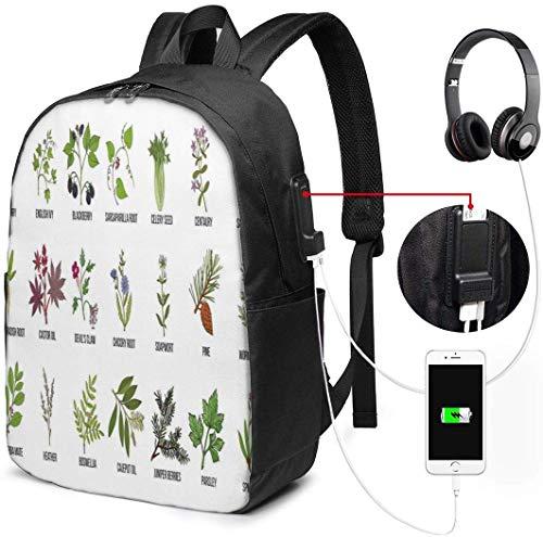 Sacs à Dos d'école avec Port de Charge USB et Prise Casque, schéma d'infographie de Traitement Naturel avec des Plantes saines et des Noms sur Le thème de l'herboristerie, 17 Pouces