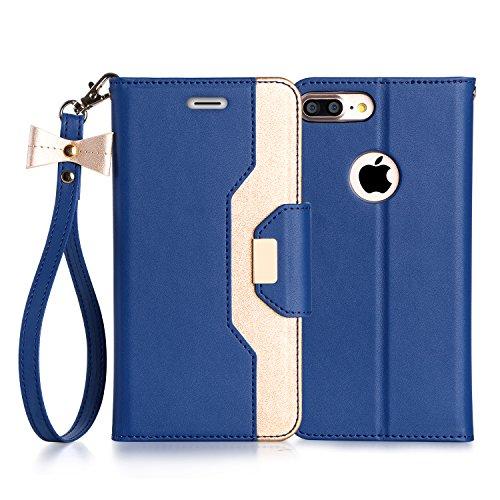 iPhone 8 Plus Hülle , iPhone 7 Plus Hülle, Fyy® Hochwertige Kunstleder Tasche mit Spiegel und Schleifen für Apple iPhone 8/7 Plus , Rosa Gold+Gold A-Schwarzblau+Gold