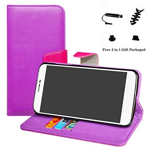 LFDZ Archos 55 Helium Hülle, [Standfunktion] [Kartenfächern] PU-Leder Schutzhülle Brieftasche Handyhülle für Archos 55 Helium / 55 Helium Ultra Smartphone (mit 4in1 Geschenk Verpackt),Violett