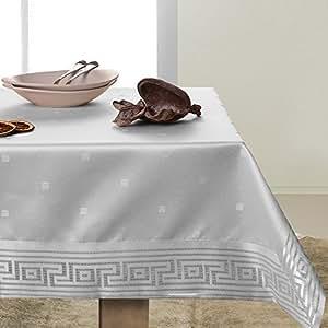130x160 weiß Tischdecke Tischtuch fleckgeschützt Weinrebe Weinrebemotiv pflegeleicht elegant praktisch Ares