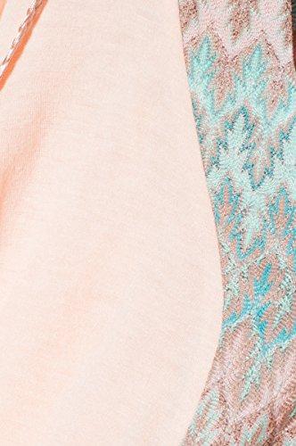 PULL PONCHO FEMME DOUBLE MATIERE TISSU MISSONI ET ACCESSOIRES LIENTS NATTES POMPONS GRACIELA - MANCHES 3/4 - CT6027 - Disponible en 3 couleurs : ecru marine rose Rose