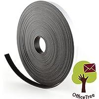 OfficeTree ® Cinta mágnética - 10 m - Cinta autoadhesiva para la imantación fija de carteles, fotos, papeles - Adherencia extra fuerte sobre pizarra blanca, pizarra magnética - negro