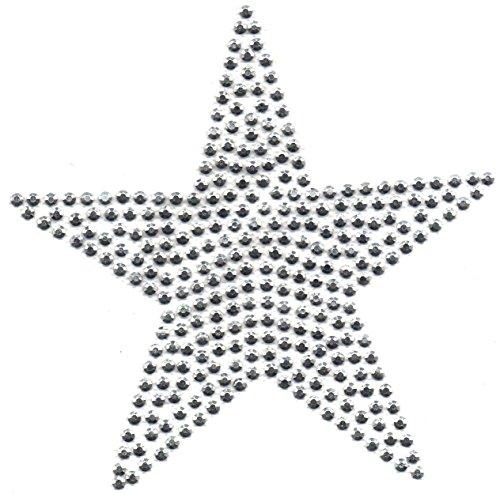 b2see Bügel-Strass Iron on Strass Stern-e Aufnäher Patches Bügelbilder Sticker Applikation Aufbügler Strass groß zum aufbügeln waschbare Qualität Varianten (Silber, 7 cm)