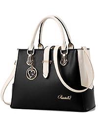 BestoU Damen Handtaschen Schwarz groß taschen Leder moderne damen handtasche gross schultertasche Frauen Umhängetasche