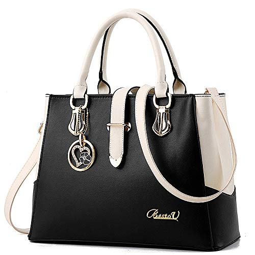 BestoU Damen Handtaschen Schwarz groß taschen Leder moderne damen handtasche gross schultertasche Frauen Umhängetasche (Schwarz) (In Schwarz Und Silber, Stoff)