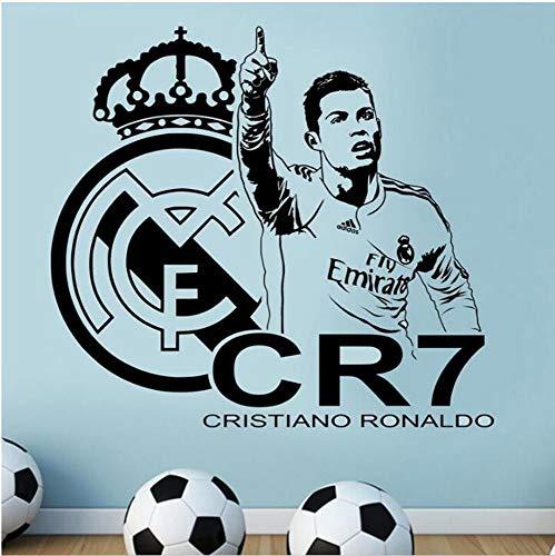 mer Wandtattoo Schlafzimmer Cristiano Ronaldo Real Madrid Wandaufkleber Abziehbild Dekor Fußball Fußball Spieler Cr7 für Kindergarten Kinderzimmer Jungen Geschenk ()