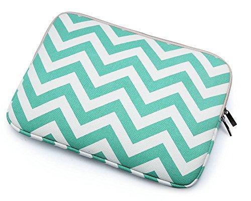 Chevron Segeltuchstoff Hülle Sleeve Schultertasche für MacBooks Laptops Vert clair 13-13.3 Inch Vert clair
