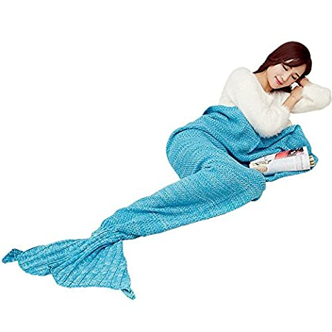 Juissie faite à la main en tricot Queue de sirène Couverture, chaud Canapé Salon Couverture pour adultes et enfants 190cmx90cm & # nitrure; 190x 89,9cm), bleu clair, Taille L