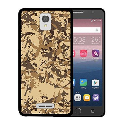 Alcatel OneTouch Pop Star 4G LTE Hülle, WoowCase Handyhülle Silikon für [ Alcatel OneTouch Pop Star 4G LTE ] Militärische Tarnungsbeige Handytasche Handy Cover Case Schutzhülle Flexible TPU - Schwarz