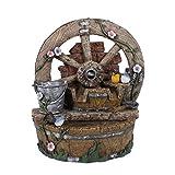 TWC WARENHANDEL PLUS Garten und mehr... Wunderschöner Garten Brunnen Outdoor und Indoor tauglich - dekorativer Springbrunnen in Holz Optik