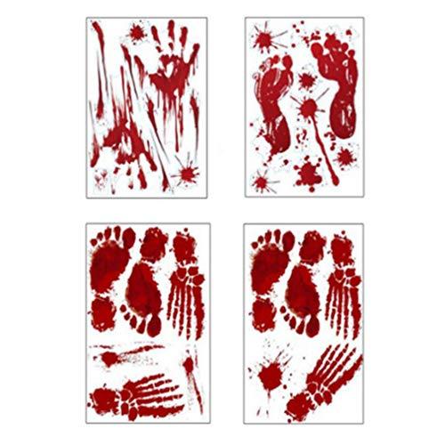 NUOBESTY 4pcs Halloween Wandtattoos blutige Handabdrücke Fußabdrücke Wanddekorationen (Schreckliche Kostüm Bilder)