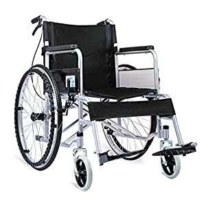 ACEDA Transport Wheelchair With Lightweight Thick Steel Frame,14Kg Folding Chair Is Portable,Front And Rear Brake,Large 24 Inch Back Wheels,Seat Width 46Cm