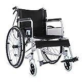 ACEDA Faltbarer Rollstuhl Mit Rutschfest Armlehnen,14Kg Leichter Dicker Stahl,Transportrollstuhl Reiserollstuhl,Sitzbreite 46Cm,Belastbarkeit 100Kg,Black