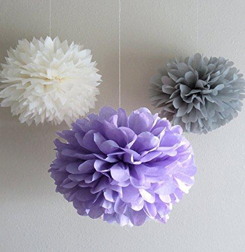 dreammadestudio Pompons aus Papier, für Hochzeiten, Partys etc, Weiß/Grau/Lavendel, 12Stück